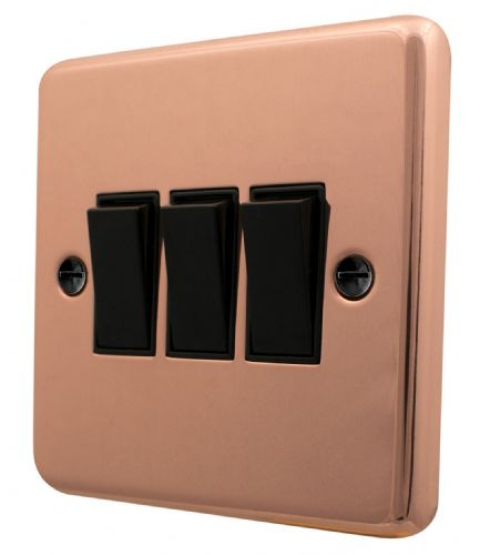 G&H CBC3B Standard Plate Bright Copper 3 Gang 1 or 2 Way Rocker Light Switch